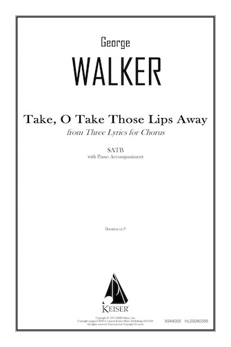 Product Cover for Take, O Take Those Lips Away (from Three Lyrics for Chorus)