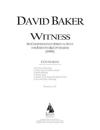 Product Cover for Witness: Six Original Compositions in Spiritual Style for Baritone and Double Bass