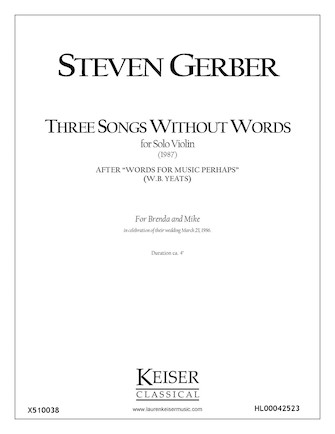 Product Cover for Three Songs Without Words from Words for Music Perhaps