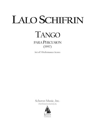 Product Cover for Tango Para Percusion (Tango for Percussion)