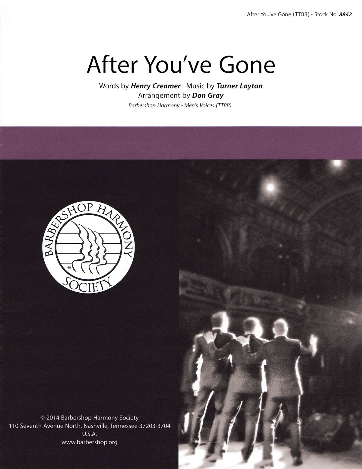 After You've Gone : TTBB : Don Gray : Henry Creamer : Four Voices : Sheet Music : 00141983 : 812817020061