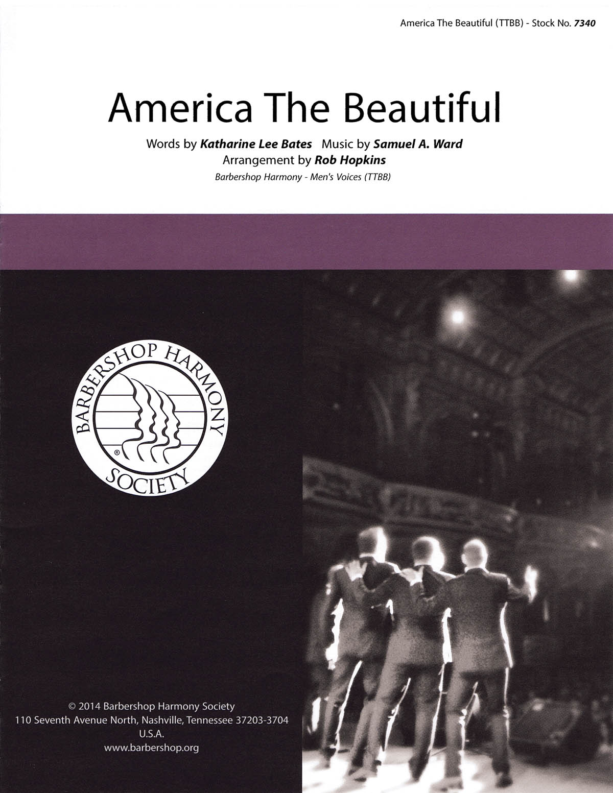 America, The Beautiful : TTBB : Rob Hopkins : Samuel A. Ward : Sheet Music : 00141986 : 812817020085