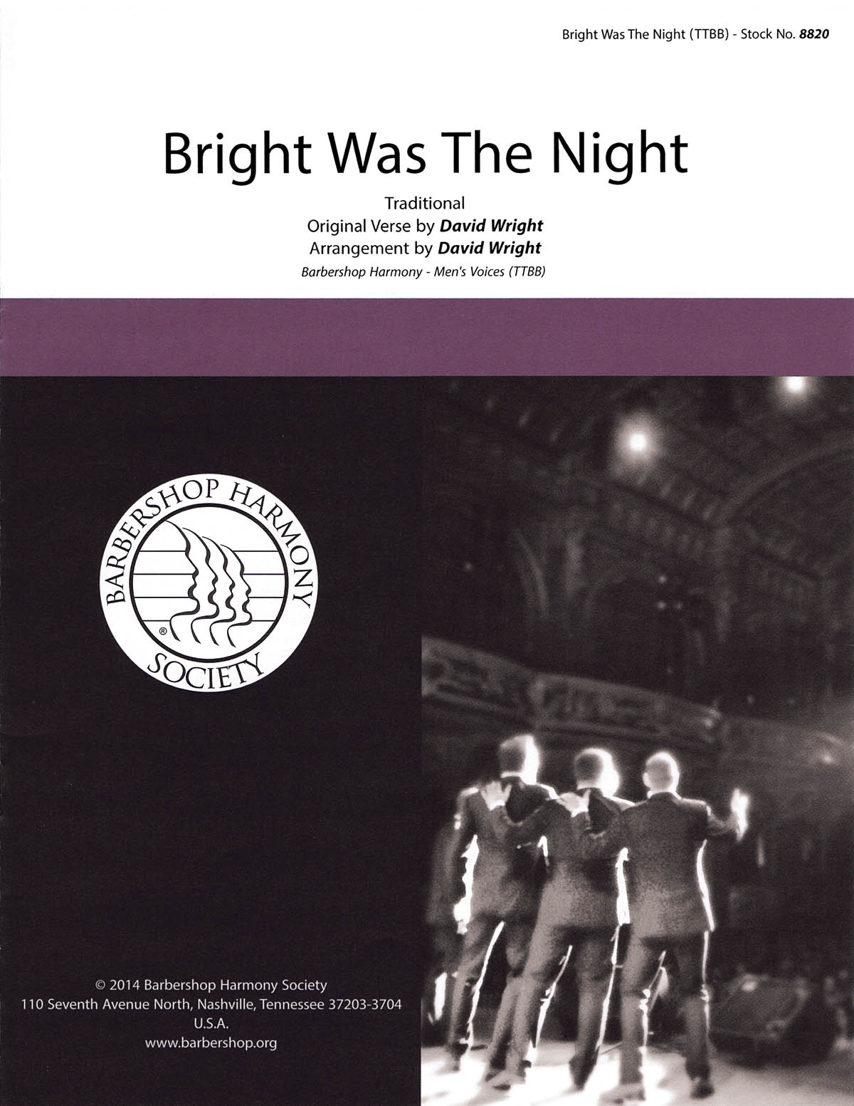 Bright Was the Night : TTBB : David Wright : The Gas House Gang : Sheet Music : 00141988 : 812817020115