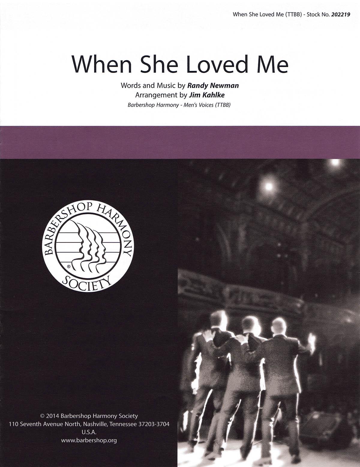 When She Loved Me : TTBB : Jim Kahlke : Toy Story 2 :  1 CD : 00141993 : 812817020382