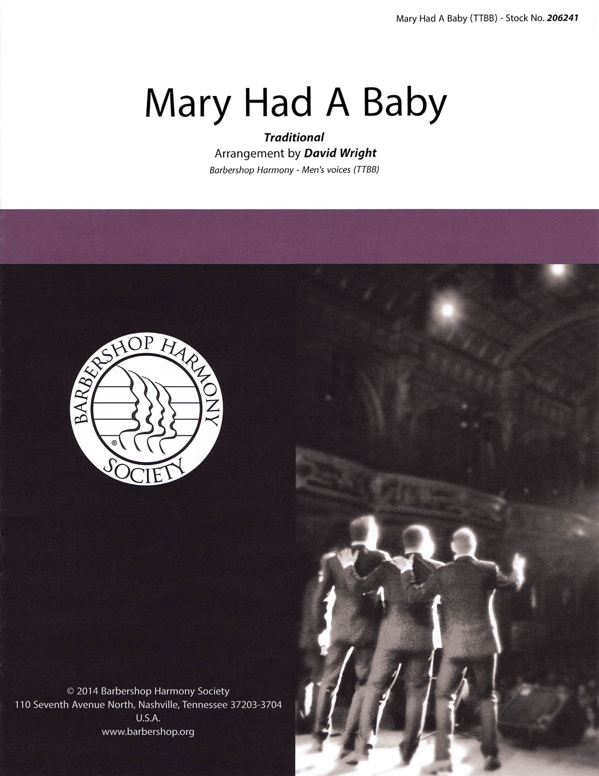 Mary Had a Baby : TTBB : David Wright : The Gas House Gang : Sheet Music : 00145198 : 812817020467