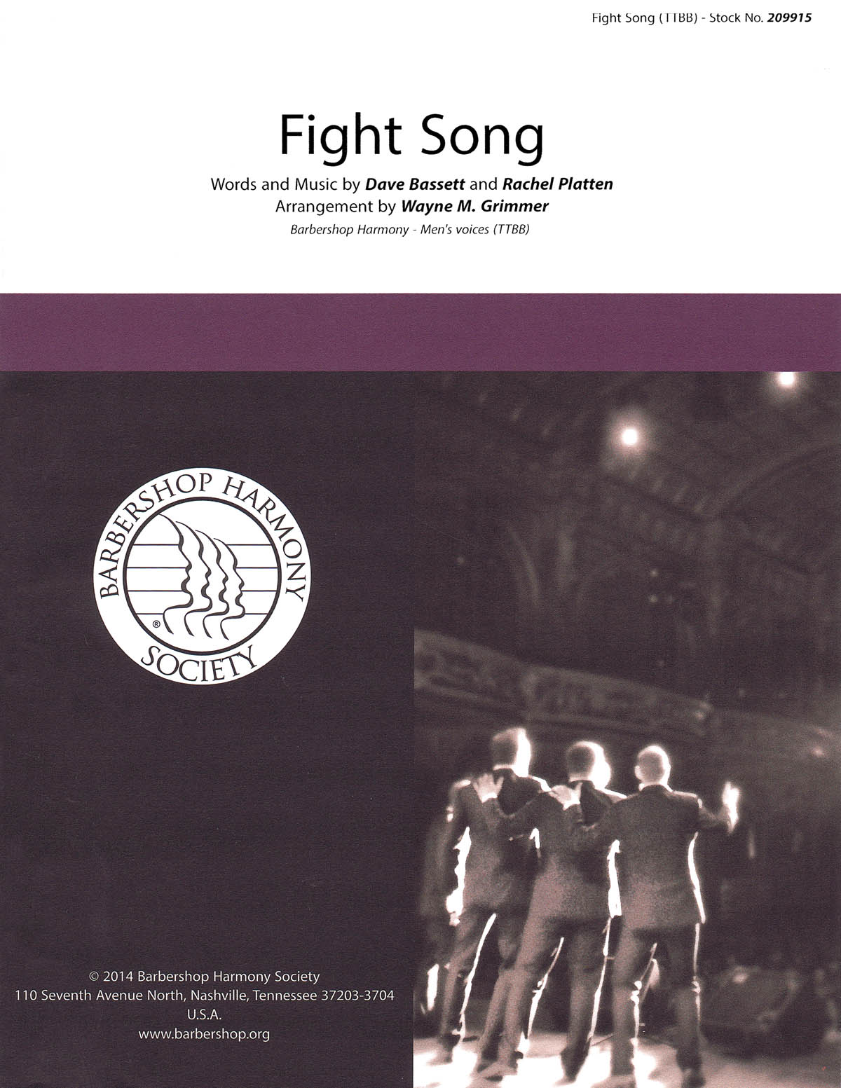 Fight Song : TTBB : Wayne Grimmer : Rachel Platten : Sheet Music : 00155682 : 812817020955