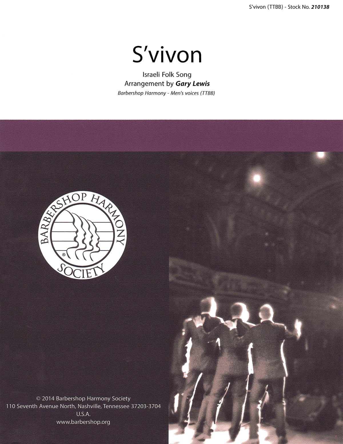 S'Vivon : TTBB : Gary Lewis : Traditional : Sheet Music : 00155686 : 812817020993