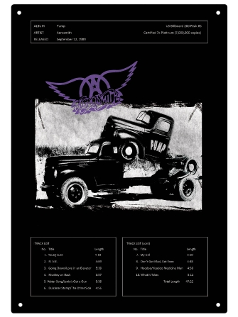 "Product Cover for Aerosmith Pump Tin Sign 15-3/4"" X 11"""