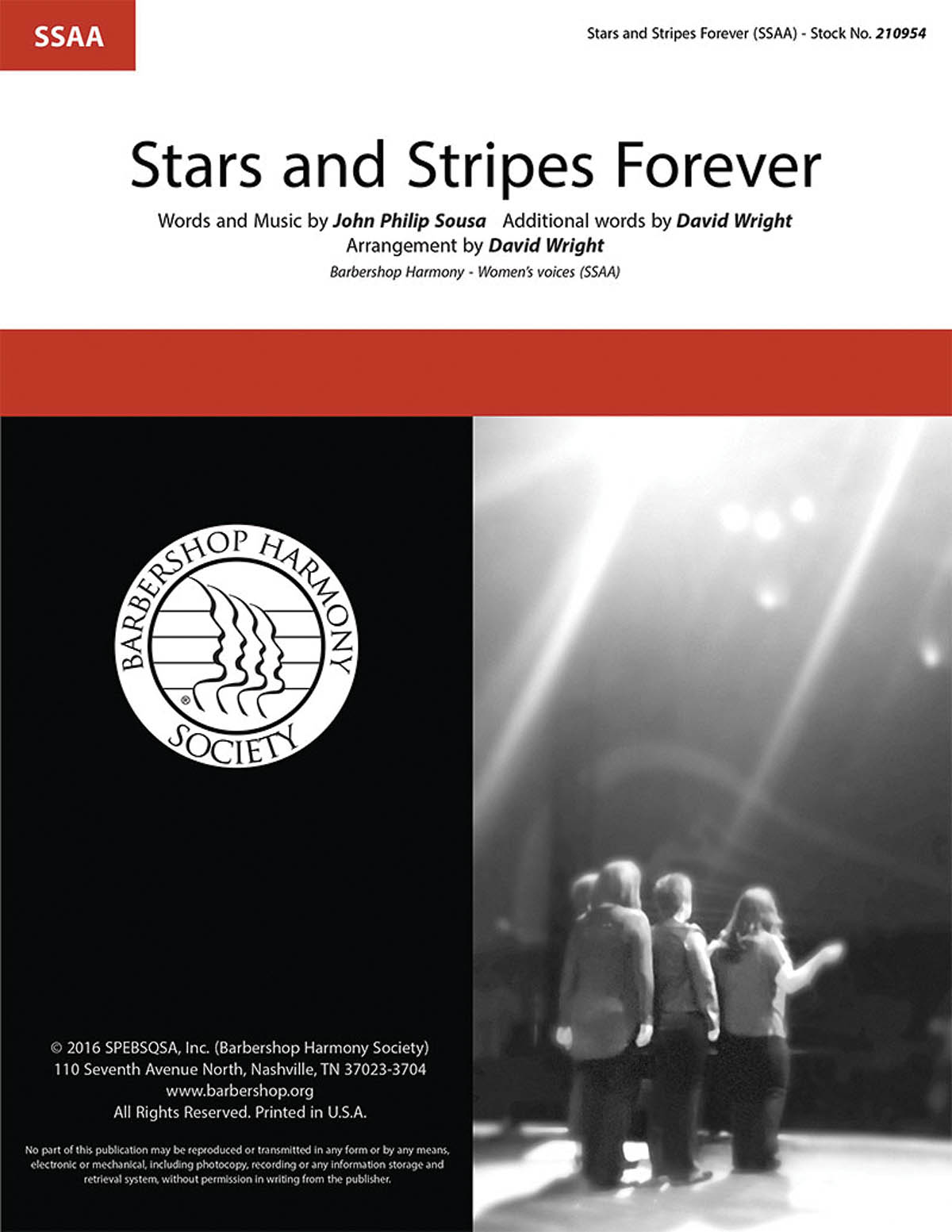 Stars and Stripes Forever : SSAA : David Wright : John Philip Sousa : Sheet Music : 00234456 : 812817021341