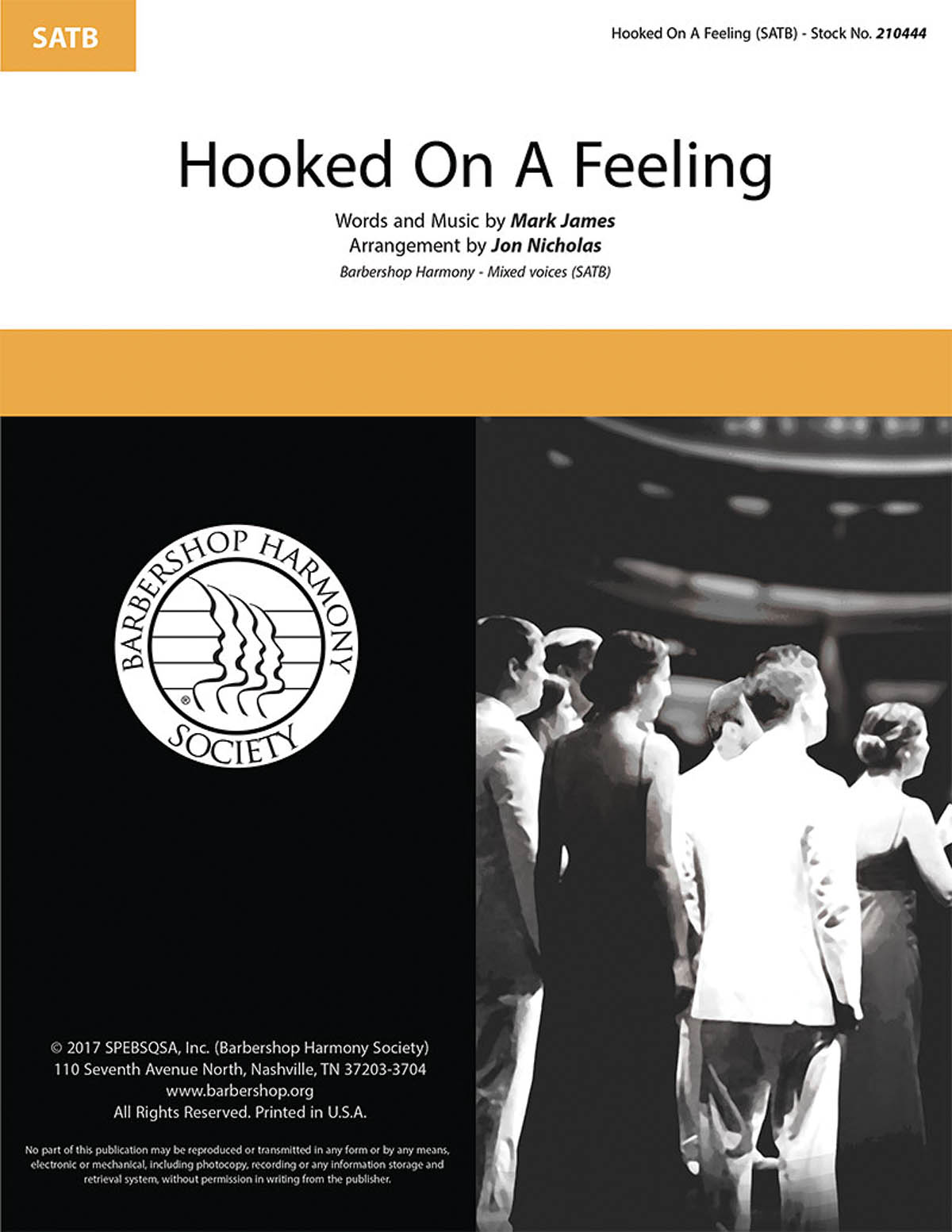 Hooked on a Feeling : SATB : Jon Nicholas : Mark James  : Sheet Music : 00234723 : 812817021396