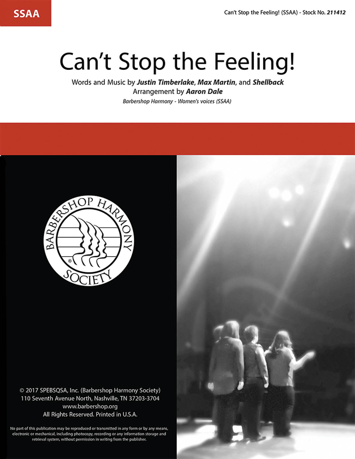 Can't Stop the Feeling! : SSAA : Aaron Dale : Justin Timberlake : Justin Timberlake : Sheet Music : 00241605 : 812817021433