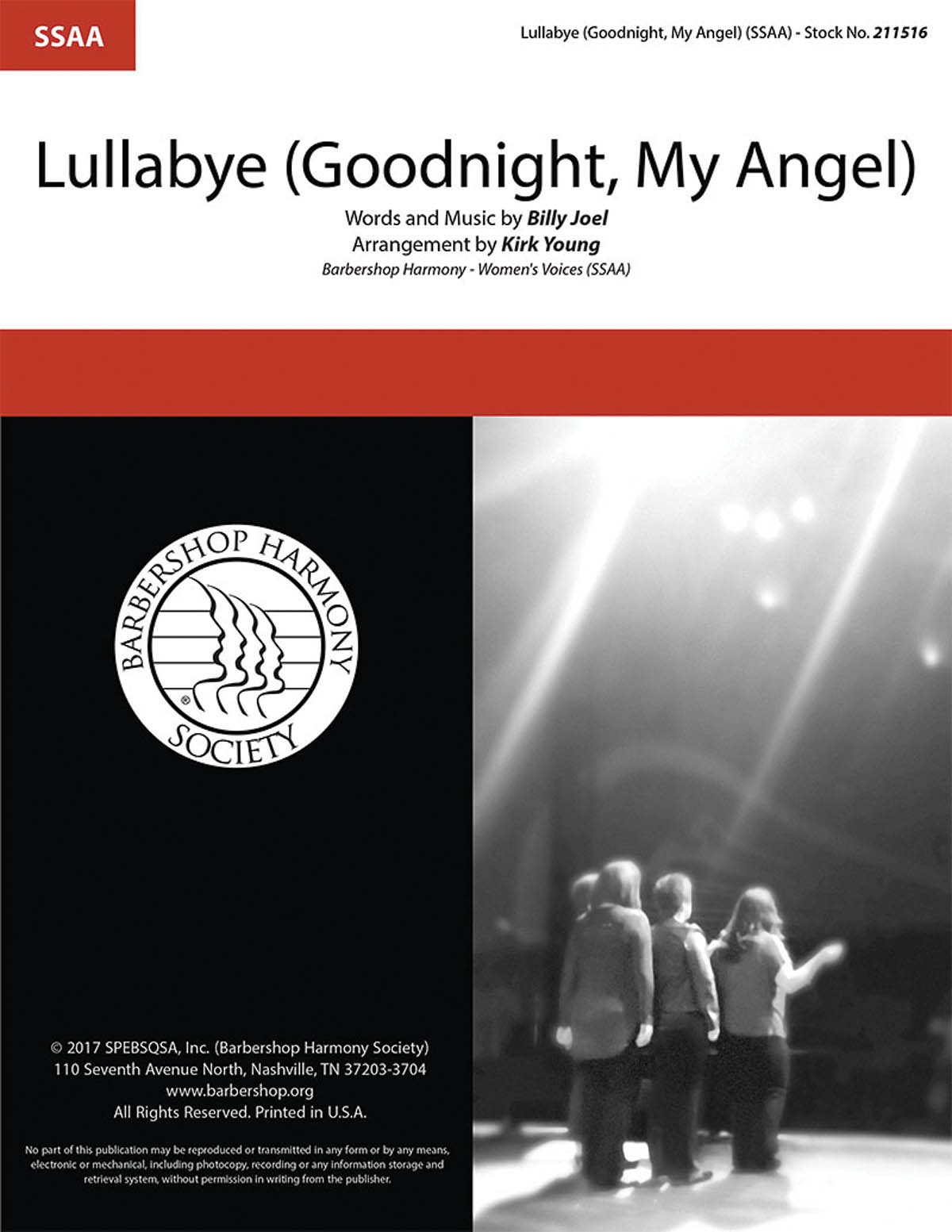 Lullabye (Goodnight, My Angel) : SSAA : Kirk Young : Billy Joel : The Gas House Gang : Sheet Music : 00241607 : 812817021419