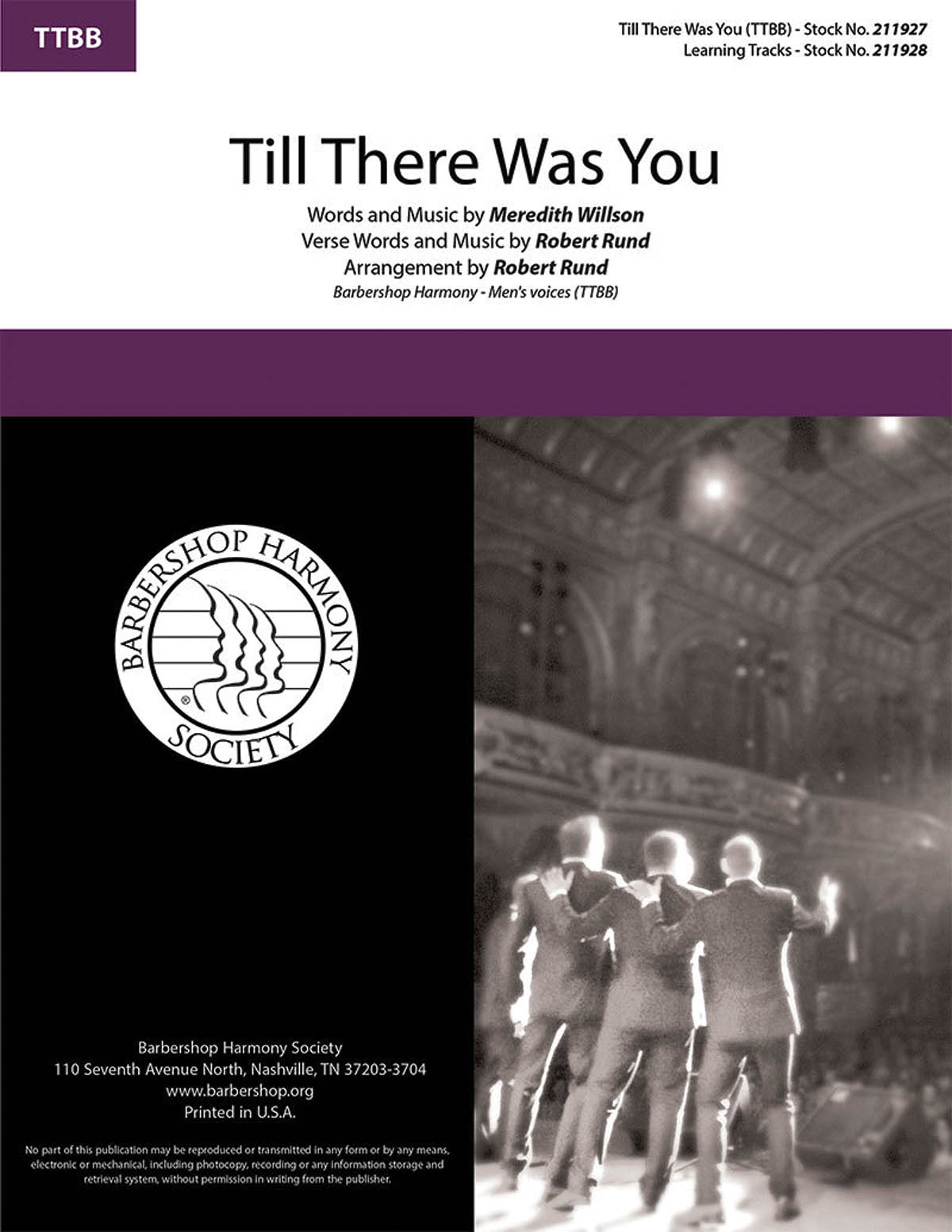 Till There Was You : TTBB : Robert Rund : Meredith Willson : Storm Front : Music Man : Sheet Music : 00251420 : 812817021532