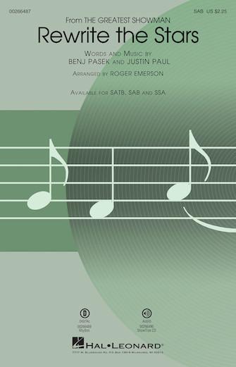 Rewrite the Stars : SAB : Roger Emerson : Justin Paul : The Greatest Showman : Sheet Music : 00266487 : 888680733162