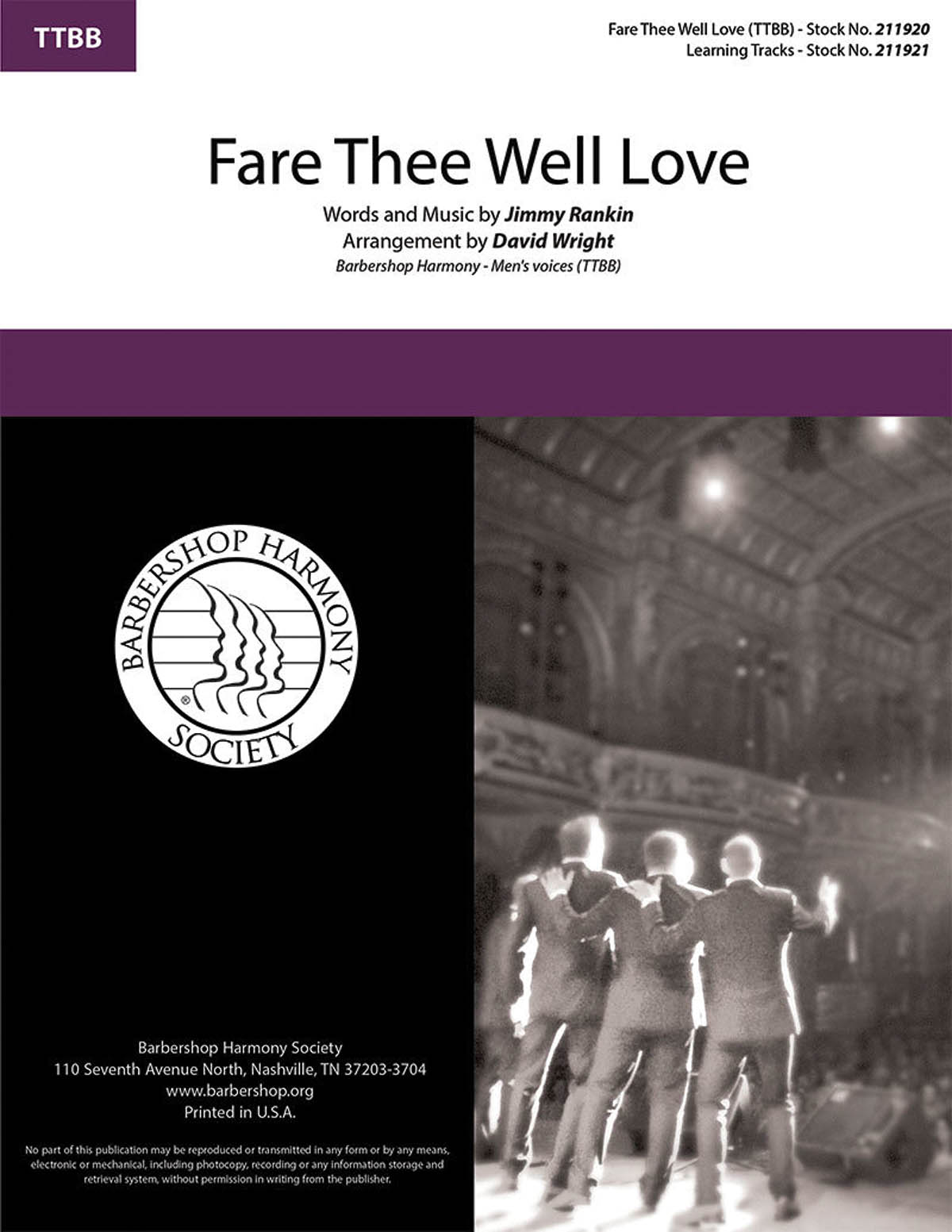 Fare Thee Well Love : TTBB : David Wright : Sheet Music : 00276673 : 812817021471