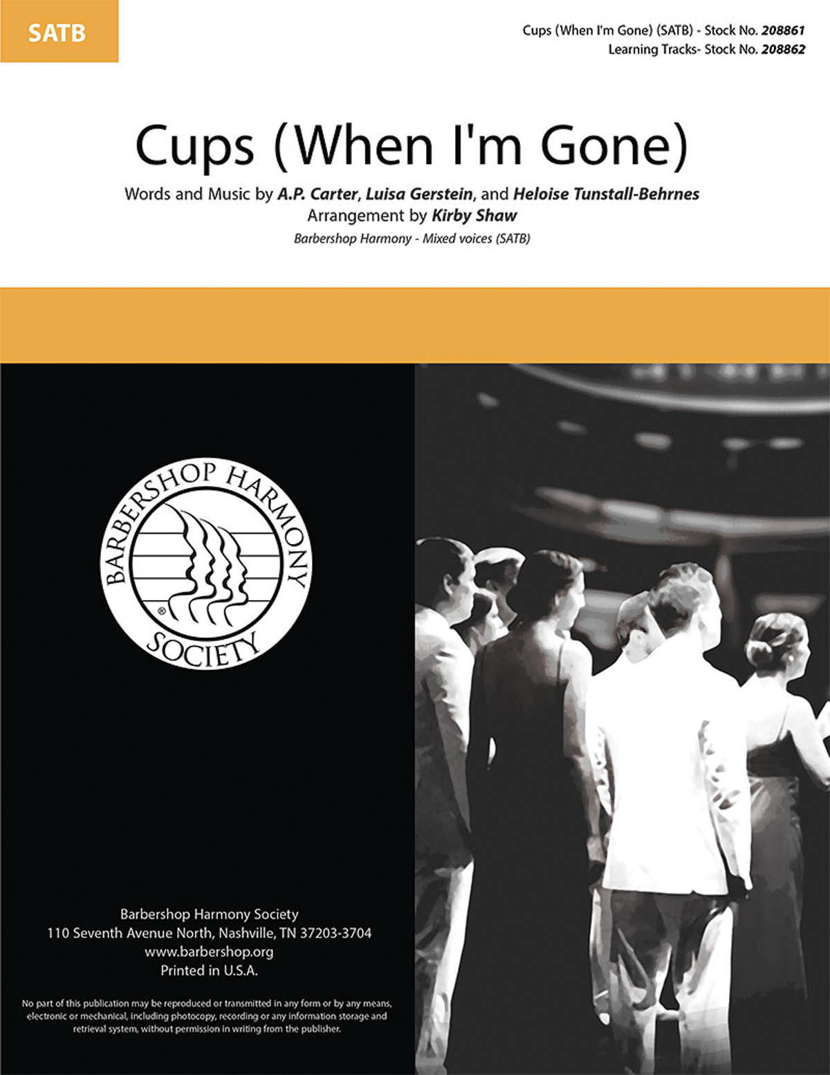 Cups (When I'm Gone) : SATB : Kirby Shaw : Anna Kendrick : Pitch Perfect : Sheet Music : 00276684 : 812817021587