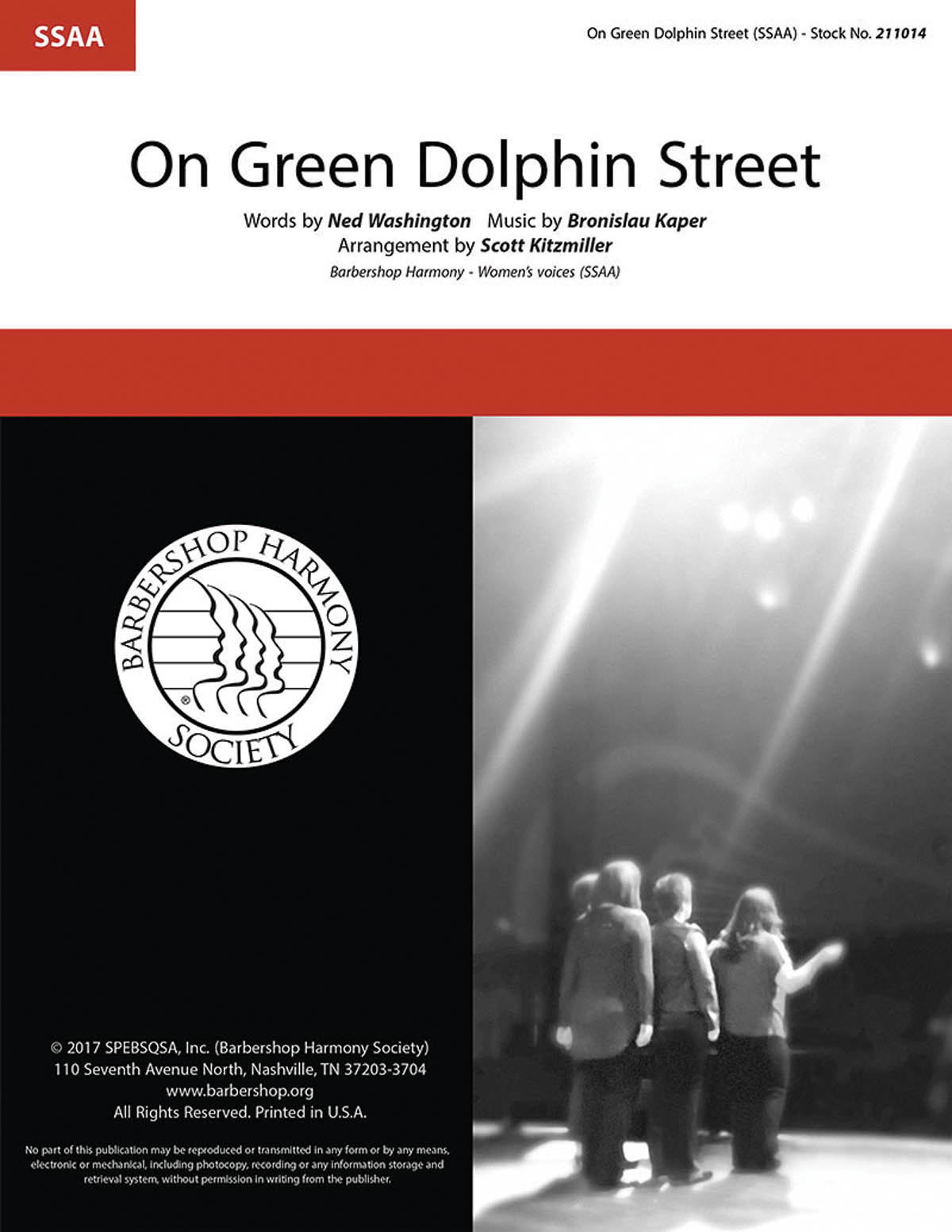 On Green Dolphin Street : SSAA : Scott Kitzmiller : Bronislau Kaper : Sheet Music : 00276686 : 888680753054