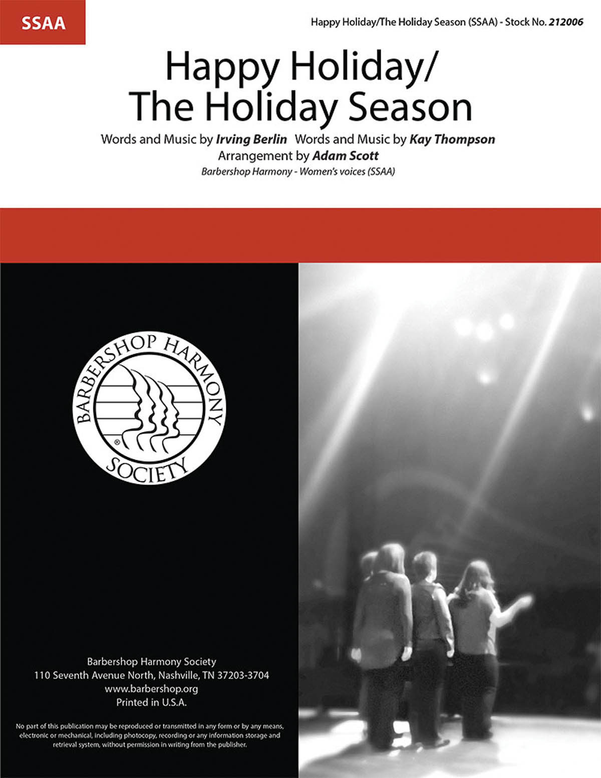 Happy Holiday/The Holiday Season : SSAA : Adam Scott : Kay Thompson : Sheet Music : 00283282 : 812817021563