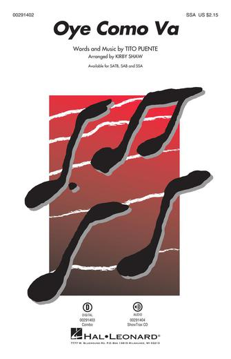 Oye Como Va : SSA : Kirby Shaw : Tito Puente : Santana : Songbook : 00291402 : 888680926762