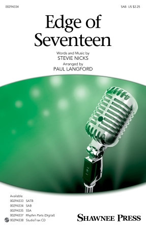 Edge Of Seventeen : SAB : Paul Langford : Stevie Nicks : Sheet Music : 00294334 : 888680941383 : 1540053105