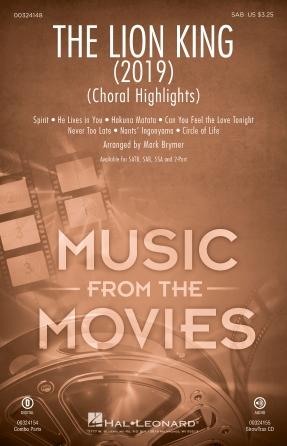 The Lion King (2019) (Choral Highlights) : SAB : Mark Brymer : Tim Rice : Sheet Music : 00324148 : 888680984496
