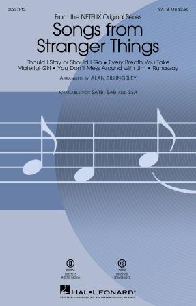 Songs From Stranger Things : SATB : Alan Billingsley : Stranger Things : Sheet Music : 00337512 : 840126911749