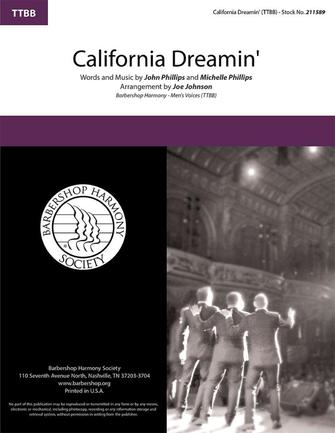 California Dreamin' : TTBB : Joe Johnson : Michelle Phillips : Sheet Music : 00337837 : 812817022621