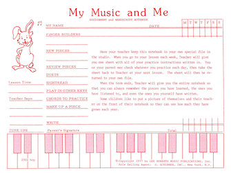 Product Cover for Teaching Aids, My Music & Me – Primary Manuscript and Assignment Diary