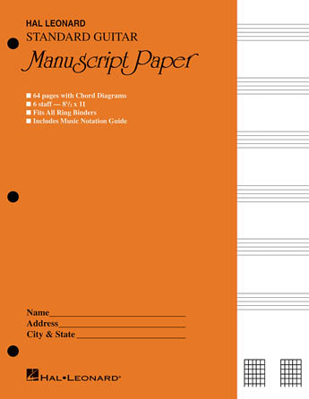 Guitar Manuscript Paper - Standard (Gold Cover)