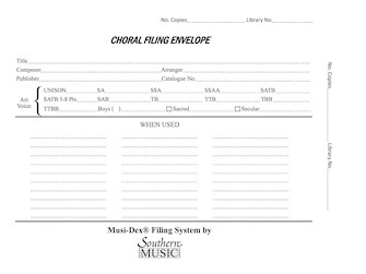 Product Cover for Musidex Choral Filing Envelopes