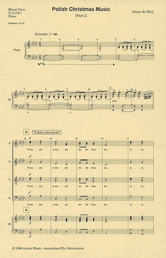 Polish Christmas Music, Part I : SATB : Johan de Meij : Johan de Meij : Sheet Music : 04000083 : 073999908398