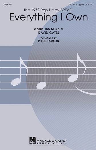 Everything I Own : SATB divisi : Philip Lawson : Bread : Sheet Music : 08201928 : 884088068769