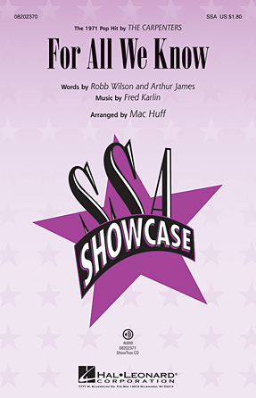 For All We Know : SSA : Mac Huff : J. Fred Coots : The Carpenters : Sheet Music : 08202370 : 884088325381