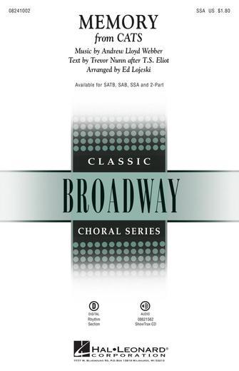 Memory : SSA : Ed Lojeski : Andrew Lloyd Webber : Cats : Sheet Music : 08241002 : 073999544084 : 142343787X