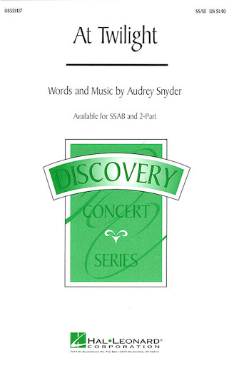 At Twilight : SSAB : Audrey Snyder : Audrey Snyder : Sheet Music : 08551417 : 073999980721
