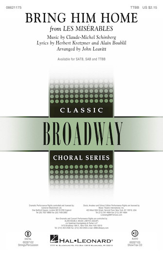 Bring Him Home : TTBB : John Leavitt : Claude-Michel Schonberg : Les Miserables : Sheet Music : 08621175 : 073999536980