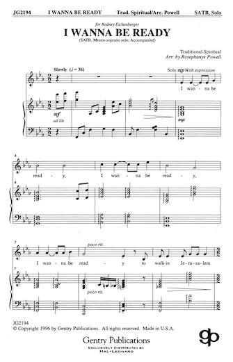 I Wanna Be Ready : SATB : Rosephanye Powell : Sheet Music : 08738698 : 073999386981