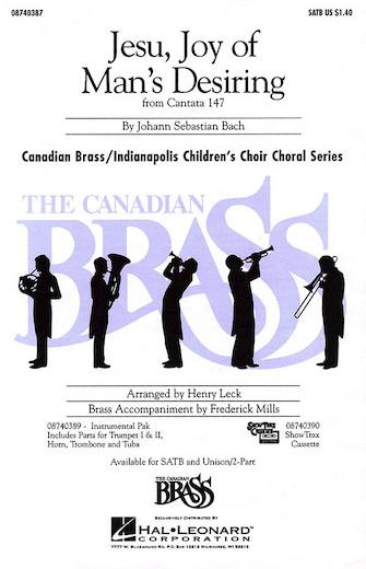 Jesu, Joy of Man's Desiring : Unison : Henry Leck : The Canadian Brass : Sheet Music : 08740388 : 073999403886