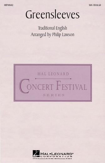 Greensleeves : SSA : Philip Lawson : Sheet Music : 08744602 : 073999915594