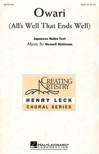 Owari : SATB : Russell Robinson : Russell Robinson : Sheet Music : 08747038 : 884088144982