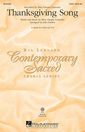 Thanksgiving Song : SATB : John Purifoy : Mary Chapin Carpenter : Sheet Music : 08750085 : 884088365295