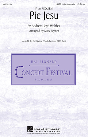 Pie Jesu : SSAA divisi : Mark Brymer : Andrew Lloyd Webber : Sheet Music : 00-34782 : 884088480448