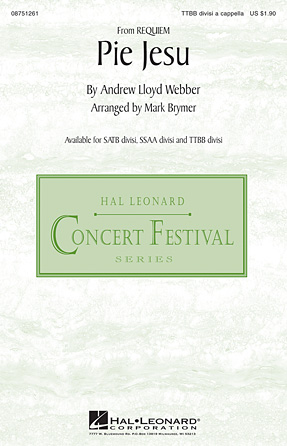 Pie Jesu : TTBB divisi : Mark Brymer : Andrew Lloyd Webber : Sheet Music : 08751261 : 884088480455