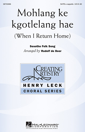 Mohlang Ke Kgotlelang Hae : SATB : Rudolf de Beer : Sheet Music : 08753066 : 884088562403