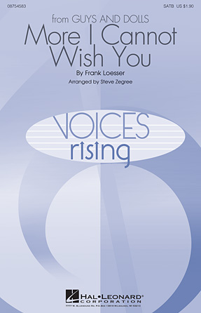 More I Cannot Wish You : SATB : Steve Zegree : Frank Loesser : Sheet Music : 08754583 : 884088645533