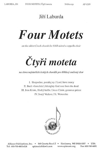 Four Motets on Old Czech Chorales : SAB :  :  : Songbook : 08771589 : 649325012192