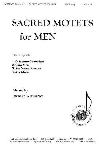 Sacred Motets for Men : TTBB : Anita Smisek : Richard K. Murray : Sheet Music : 08771885 : 649325014950