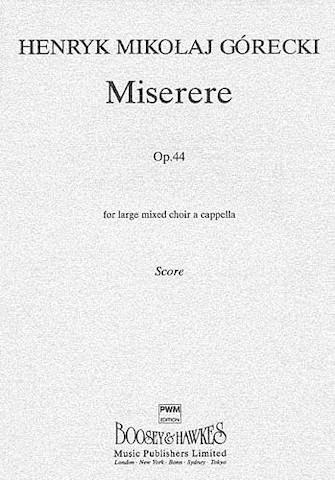 Miserere, Op. 44 : SSAATTBB : Henryk Gorecki : Henryk Gorecki : Sheet Music : 14012999 : 884088430986