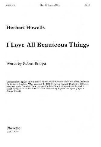 Product Cover for I Love All Beauteous Things