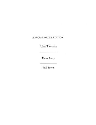 Product Cover for John Tavener: Theophany (Score)